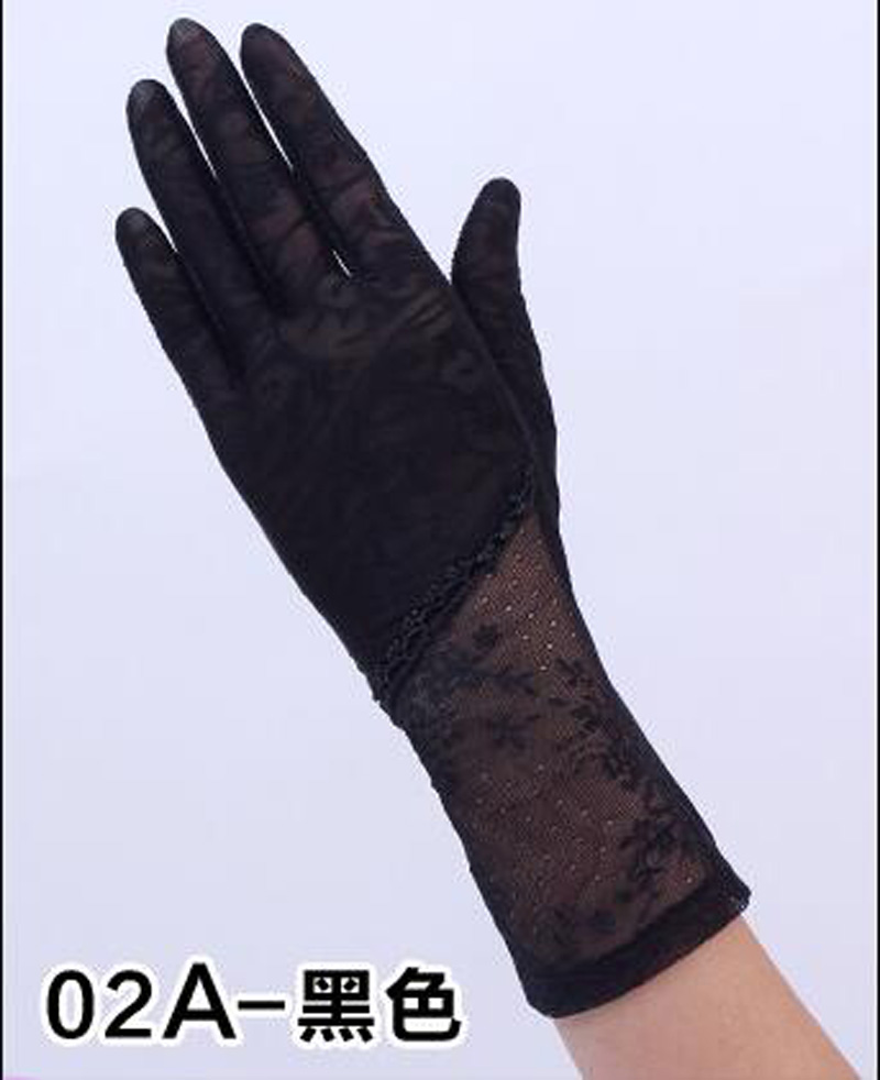 HTB1k4K2RFXXXXbBapXXq6xXFXXXk - Sexy Summer Women UV Sunscreen Short Sun Female Gloves Fashion Ice Silk Lace Driving Of Thin Touch Screen Lady Gloves G02E