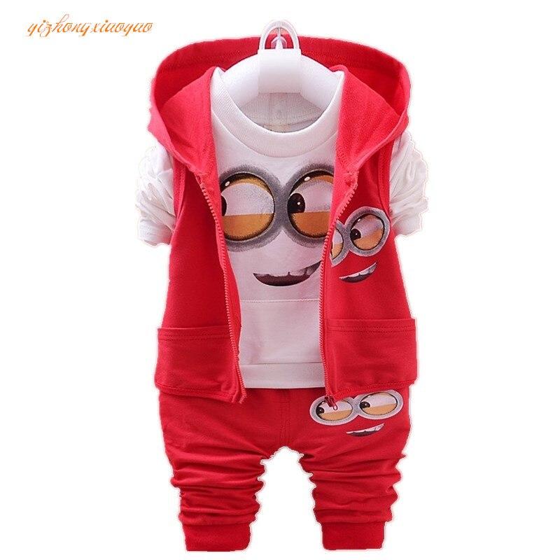 2016 Детская одежда с изображением Despicable Me Minions новый комплект одежды для мальчиков хлопчатобумажная одежда для маленьких девочек унисекс де...