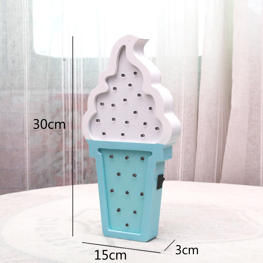 Wooden ice Cream LED Night Light Ins Style Baby Bedroom Bedside Night Lamp for Children Girls Home Decor Light