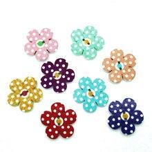 Пуговицы вуд scrapbooking ремесел смешанные швейные отверстия кнопки цветочные формы деревянные
