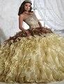 Vestidos Quinceanera 2017 vestido de Debutante vestido de Organza Pescoço Namorada Formal Especial Ocasião vestidos Tassel Camadas Frisada Vestido de Festa Sexy