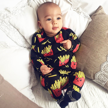 Baby Rompers French fries cola Print 100% Cottons Newborn Boys Girls Clothes Infant Clothing Long Sleeved outdoor Jumpsuit