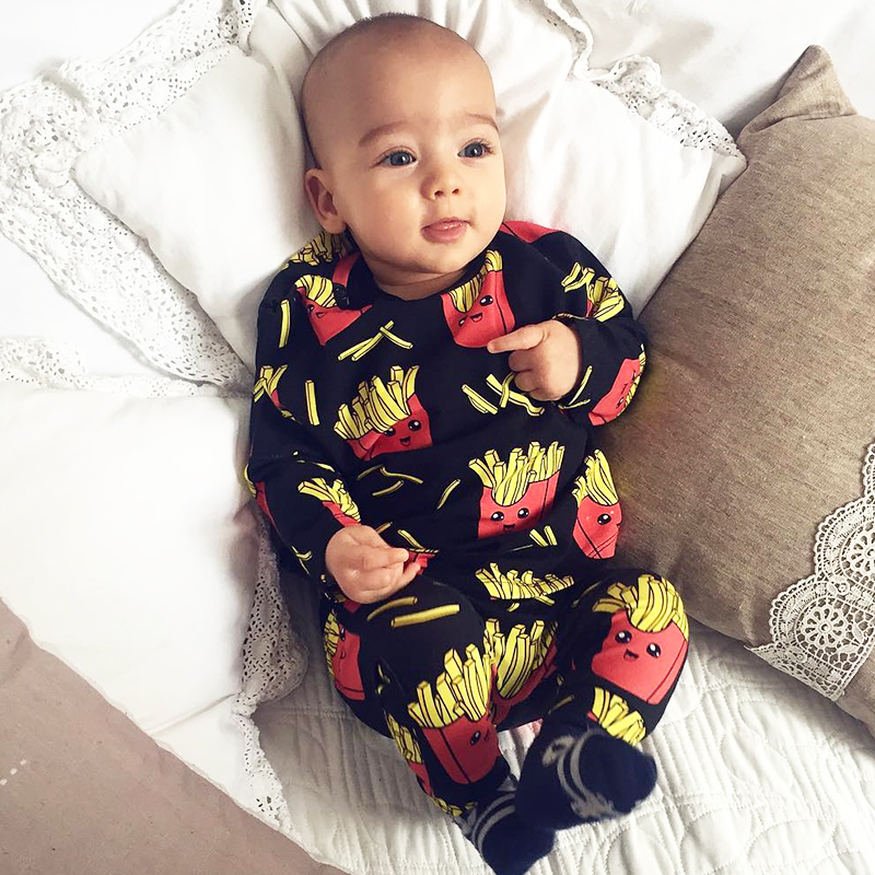 Baby   Rompers   French fries cola Print 100% Cottons Newborn Boys Girls Clothes Infant Baby Clothing Long Sleeved outdoor Jumpsuit