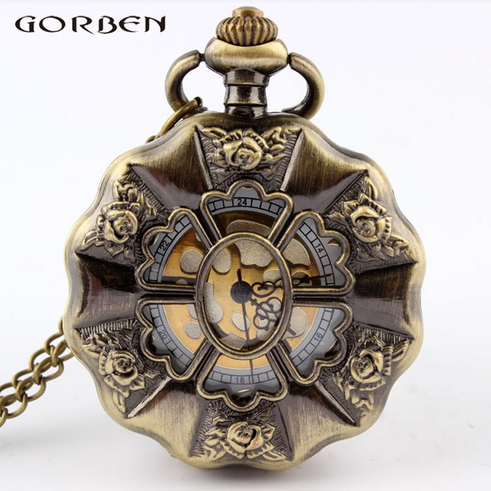Vintage Bronze Sunflower  Full Steel Steampunk Pocket Watch Fashion Hollow Analog Skeleton Mens Womens Pocket Watch P50