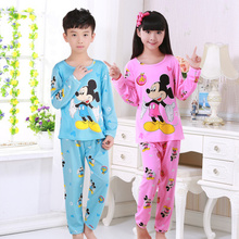 Hot kids pajamas sets Lovely cartoon Sleepwear Children Home wear Boys Girls long-sleeved nightwear models baby Clothes