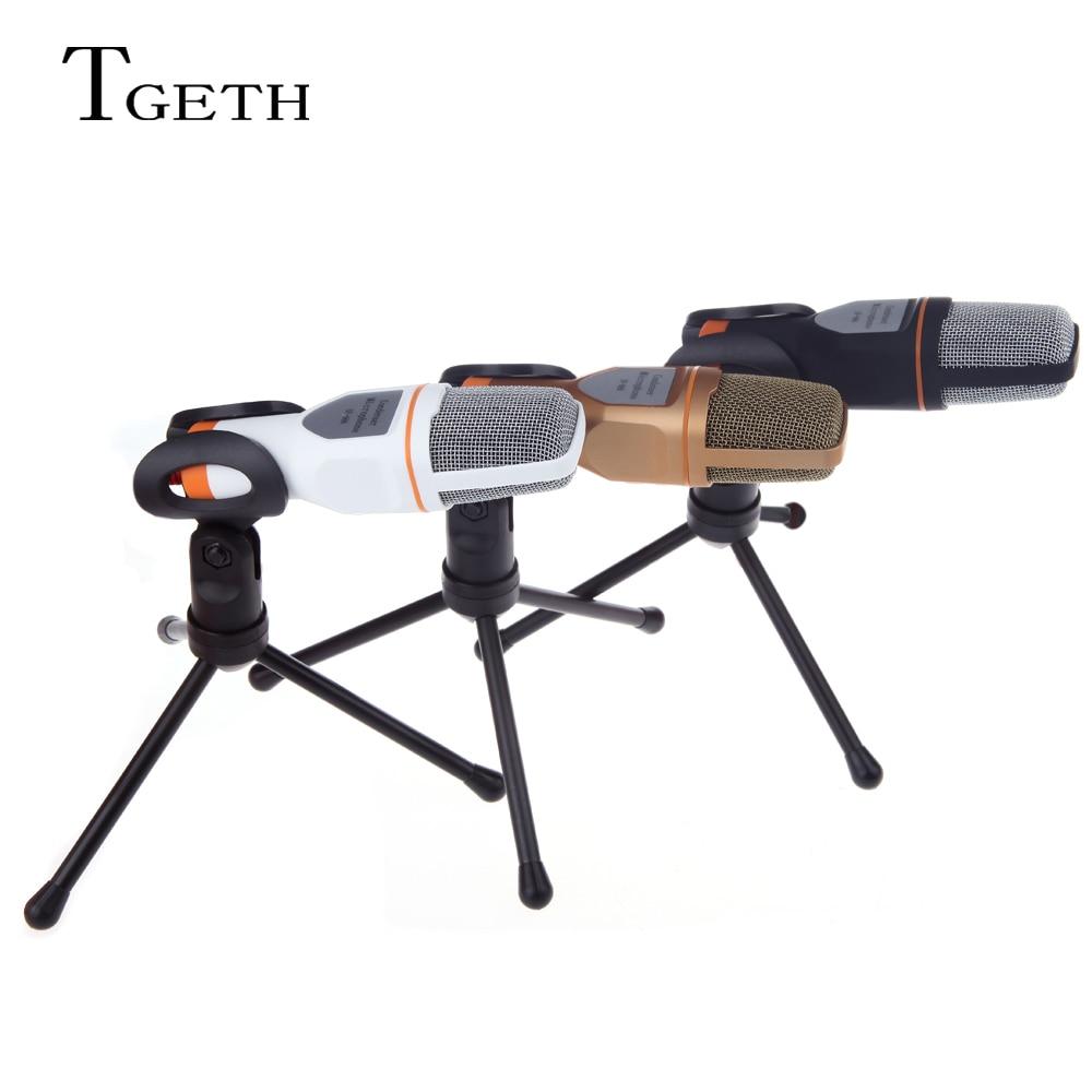 TGETH 3.5mm Audio Stereo A Condensatore Cablato SF-666 Microfono Con Il Supporto Del Basamento Della Clip Per PC Chiacchierando Canto Karaoke Laptop