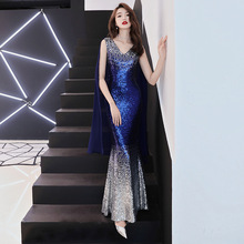Prom Dress Sexy V-neck Sleeveless Sequined Mermaid Formal Party Gowns Royal Blue Lace Zipper Back Trumpet Evening Dresses E374 royal blue sexy v neck lace details bikini set