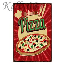 [Kelly66] DELICIOUS PIZZA Vintage Metal Sign Tin Poster decoración del hogar Bar pintura de arte de pared 20*30 CM tamaño y-1639(China)