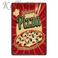 [Kelly66] DELICIOUS PIZZA Vintage Metal Sign Tin Poster decoración del hogar Bar pintura de arte de pared 20*30 CM tamaño y-1639