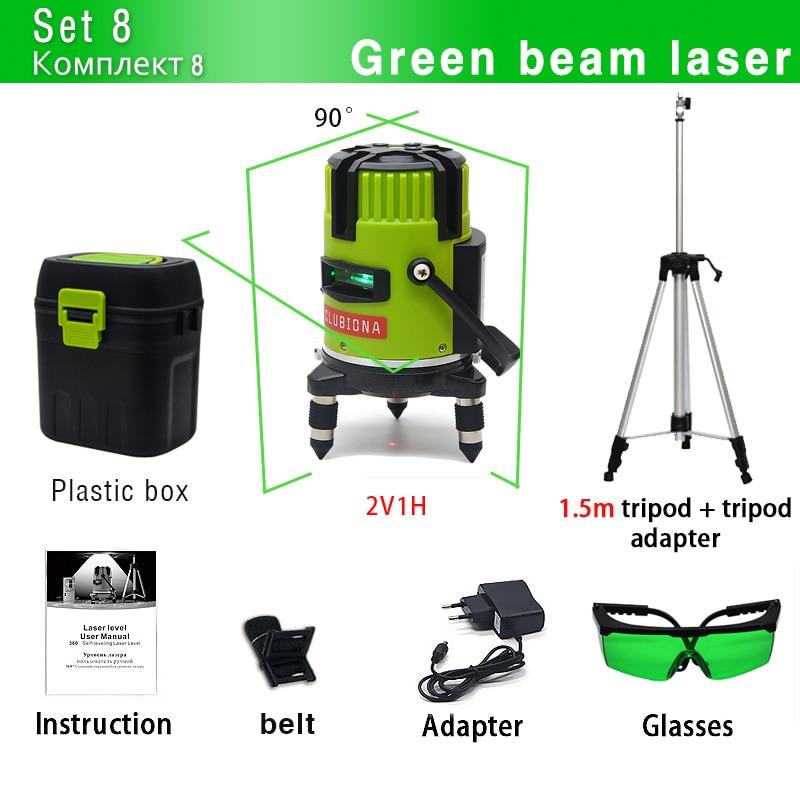 CLUBIONA зеленый и красный луч линии 360 градусов Поворотный наружный режим-приемник и наклон slash доступен автоматический линейный лазерный уровень - Цвет: M03G and Tripod