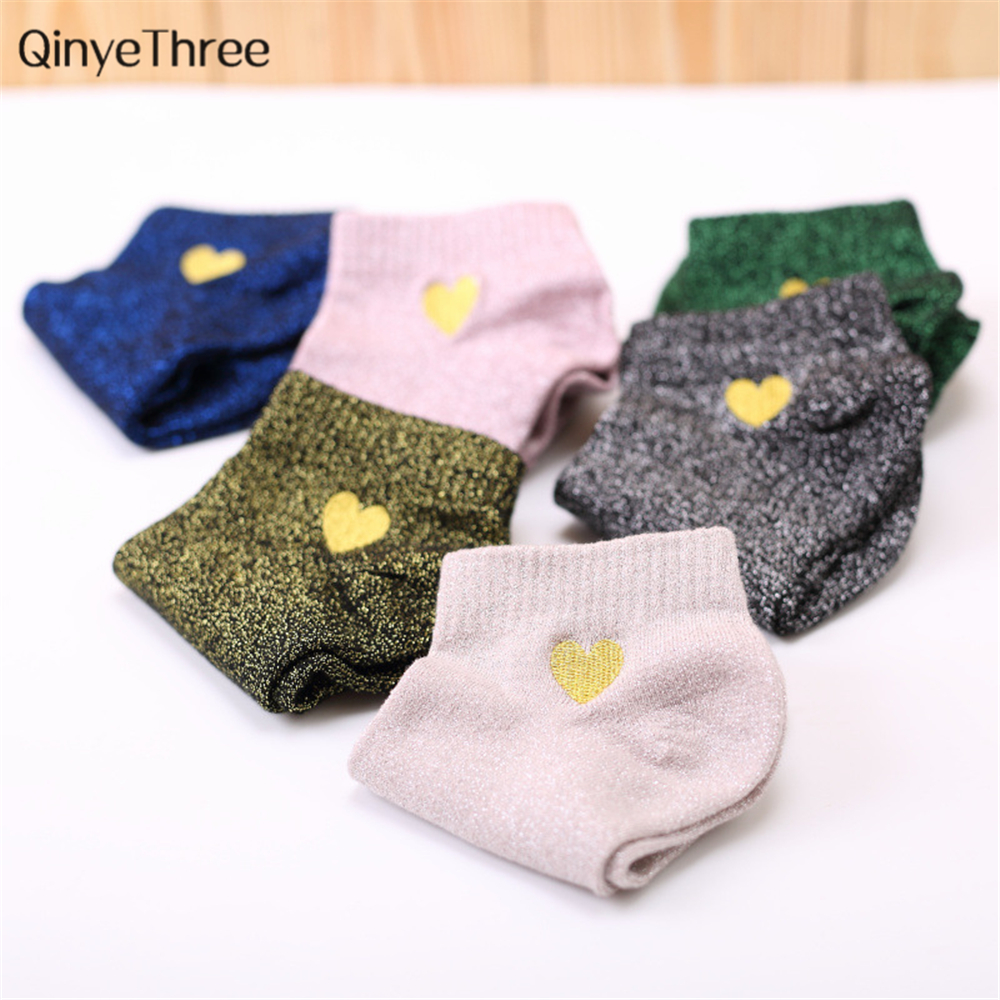Women Embroidery Love Heart Glitter   Socks   Fashion Funny Gold Silver Silk Colorful Shining Sox Shiny Calcetines Mujer Drop ship
