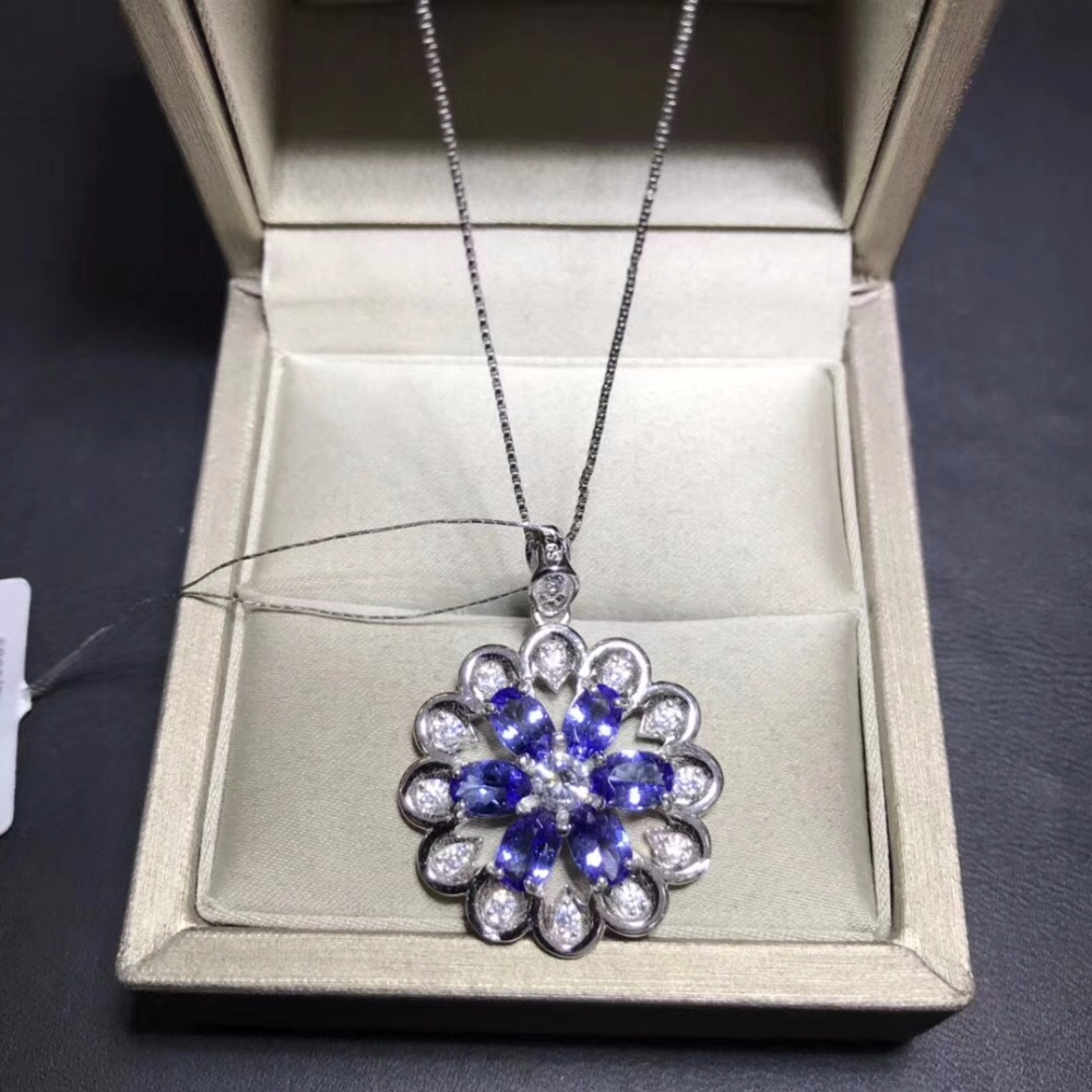 Uloveido Women Natural Tanzanite Gemstone Pendant Necklace Women 925 Sterling Silver Anniversary Flower Necklace Pendant FN273