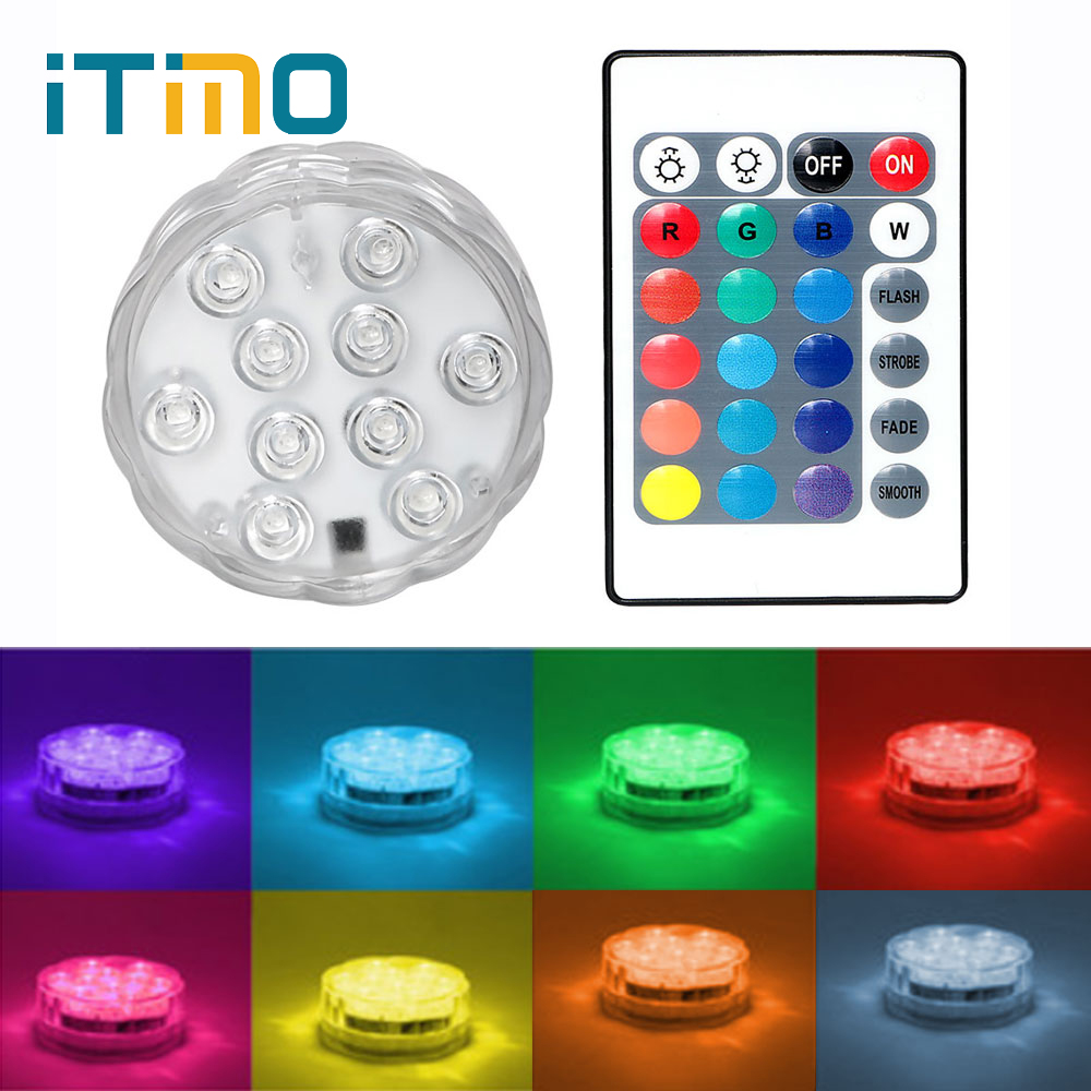 ITimo Wireless Remote Control LED Float Water Light Night Light Flower Bentuk Waterproof Kolam Renang Hiasan Lampu RGB 10 LED
