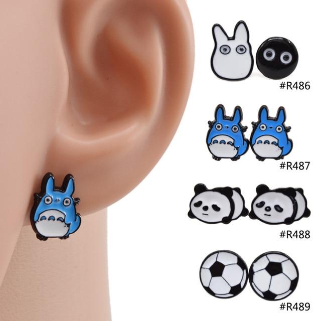 Totoro Panda Football Shape Enamel Earrings