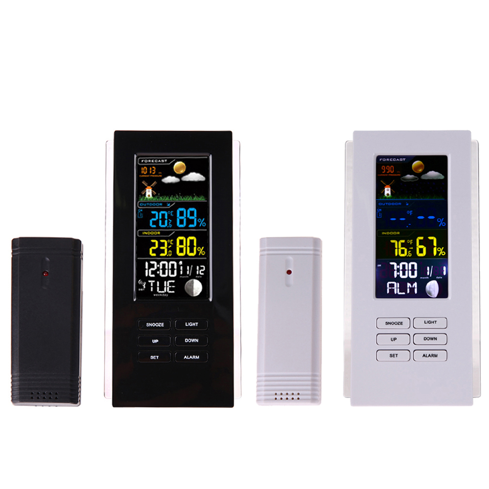 Wireless Weather Station Indoor Outdoor Digital Thermometer Hygrometer Temperature Humidity Forecast Alarm Clock Snooze Function 1pcs high accuracy lcd digital thermometer hygrometer electronic temperature humidity meter clock weather station indoor