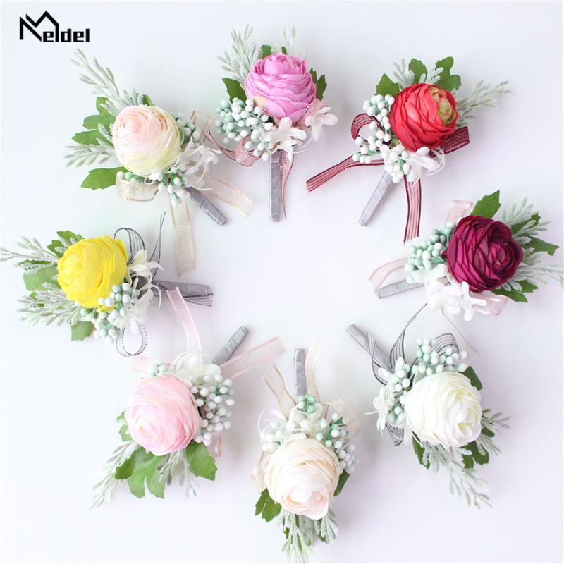 Meldel Men Corsage Groom Boutonniere Pin Bridal Wrist Corsages Champagne Burgundy Bridesmaid Bracelet Wedding Flower Accessories