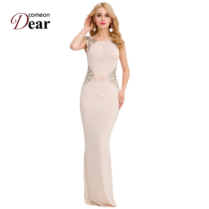 Buy Cheap RJ80296 Comeondear Bodycon Floor Length Maix Dress Sleeveless Evening Party Formal Sexy Dresses Cheap Split Party Women Dresses