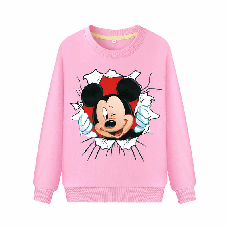 Meisjes 2019 Lente Cut Cartoon Mickey Print Roze Hoodies Kids Volledige Mouw Sweater Kostuum Kinderen Trui Jas Jongens DZ031