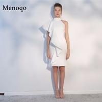Menoqo White Short Cocktail Dresses 2019 Sexy High Neck Knee Length Women Prom Dress Sheath Bodycon Formal Party Dresses