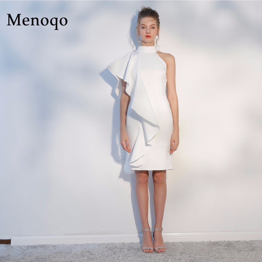 Menoqo White Short   Cocktail     Dresses   2019 Sexy High Neck Knee Length Women Prom   Dress   Sheath Bodycon Formal Party   Dresses
