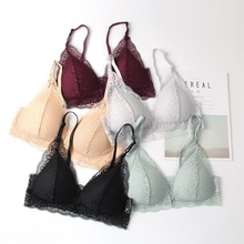 Women Sexy Bra Underwear Push Up Front Closure Bra 2019 Fashion Women Lace Triangle Cup Push Up Bralette Thin Bras Solid Color
