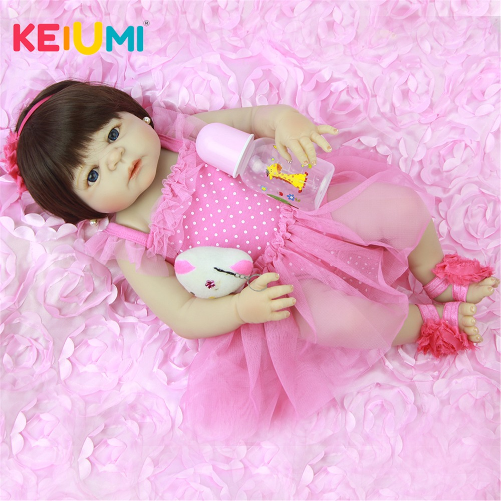 57 cm Full Silicone Body 23'' Baby Doll Toy For Girl Lifelike Babies Reborn Doll Real Princess Wear Pink Dress For Children Gift