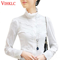 2016 Fashion Women White Victorian Top Ladies OL Office Fitted Casual Sheer Shirt Sping Lace Blouse