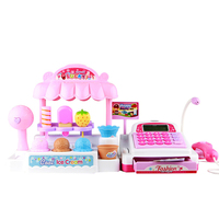 Hot Sale Plastic Children Cash Register Kids Educational Toys Simulation Supermarket Ice Cream Shop Girl Toys Set