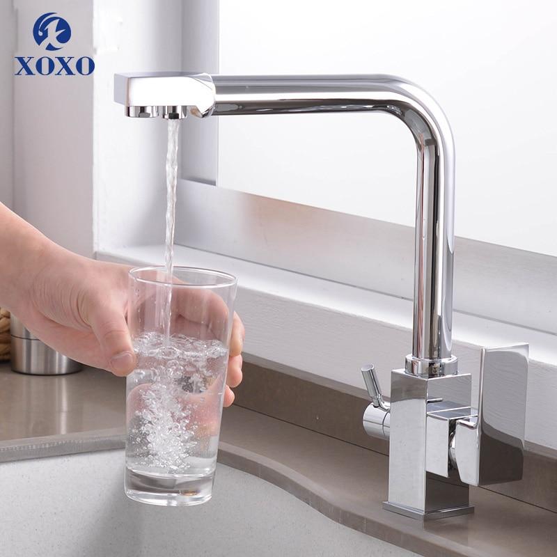 XOXO Cozinha Filtro De Água Pura Da Torneira de Água Potável Preto Único Furo Quente e fria Afunda Deck Montado Toque Mixer Para Cozinha 81018