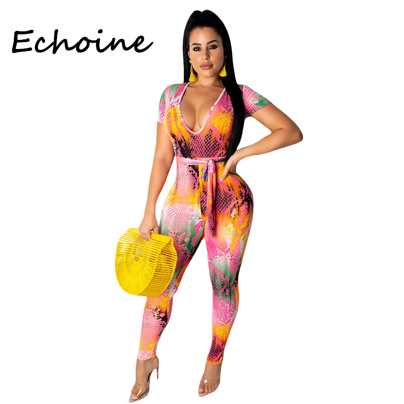 Echoine Sexy Colorful Snake Print Jumpsuit Short Sleeve O-neck Playsuit Bodycon Bandage Rompers Womens Jumpsuit 3 Color