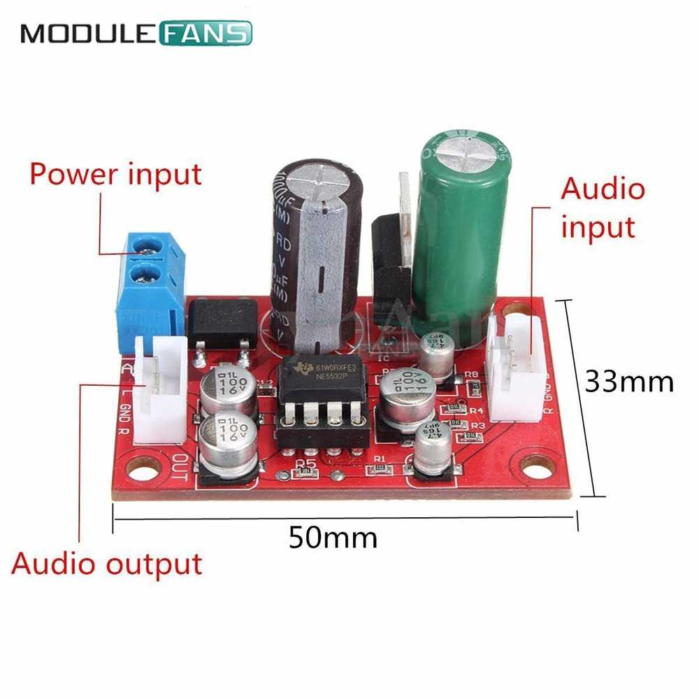 لوحة مكبر صوت مقوّم للجسر NE5532 مكبر صوت OP AMP لوحة مكبر صوت مسبق مقبس IC DC 9-24V AC 8-16V مجموعة اصنعها بنفسك