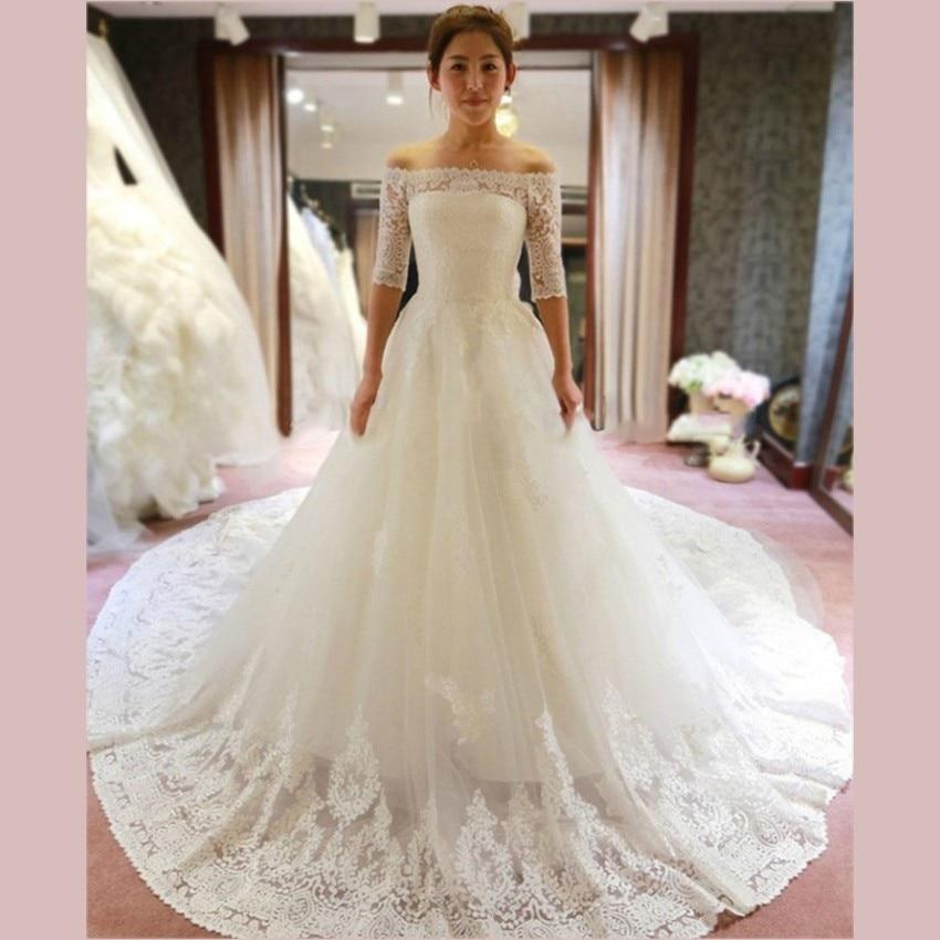 2016 Luxury White Lace Cathedral Train Wedding Dresses Elegant Off ...