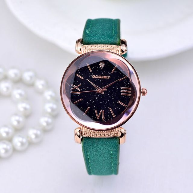 New Fashion Gogoey Brand Rose Gold Leather Watches Women ladies casual dress quartz wristwatch 2