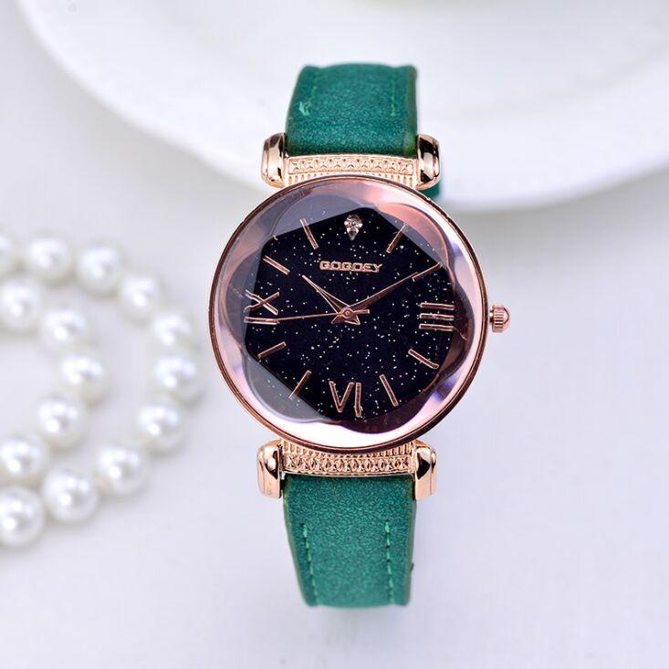 fdf02fecc516 Nueva moda de Gogoey marca oro rosa Relojes de Cuero de las señoras ...