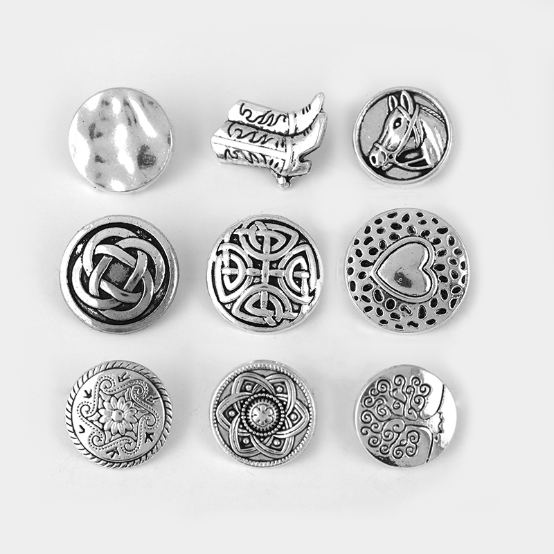 20pcs Antique Silver Embossed Heart Flower Knot Lucky Pattern Button Fastener Slider Spacer Clasp For Bracelet Jewelry Findings