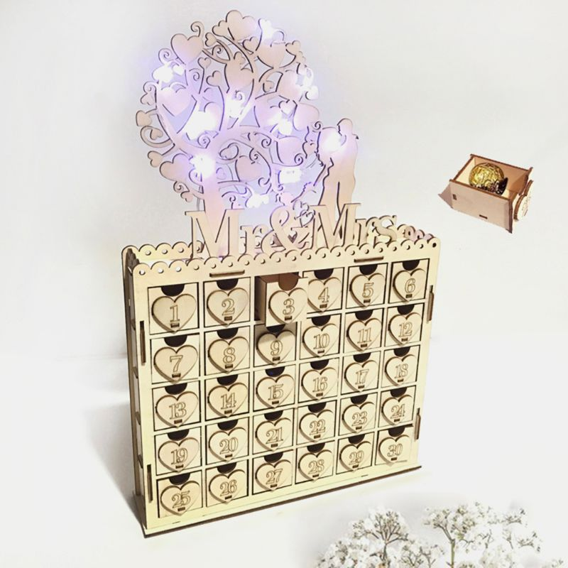 DIY Wooden Chocolate Cabinet Drawer Mr & Mrs/I Love You LED Light Countdown Wedding Party Supplies Decoration Ornament Gift