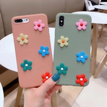 Cute 3D Flowers Phone Case For iphone X XS Max XR Cover For iphone 6 6s 7 8 plus Fashion INS Floral Pattern Soft Back Cases Capa stylish floral pattern front back decorative sticker set for iphone 6 4 7 purple green
