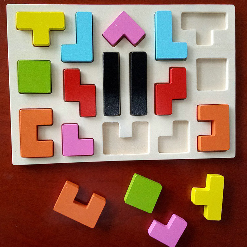 Free shipping Kids puzzle Wood puzzle toy Tetris Teddy Game Environmental Protectio, multi function puzzle wooden puzzle toys children wooden mathematics puzzle toy kid educational number math calculate game toys early learning counting material for kids