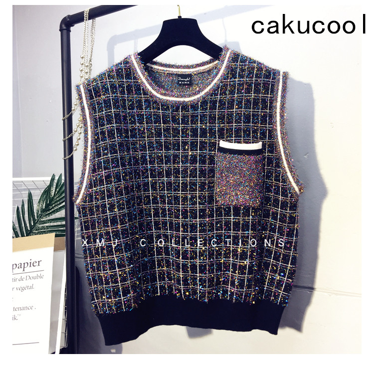 Cakucool Women Preppy Plaids Knit Vest O neck Colorful Lurex Spring Sleeveless Sweater Bling Loose Casual Pullover Vests Lady