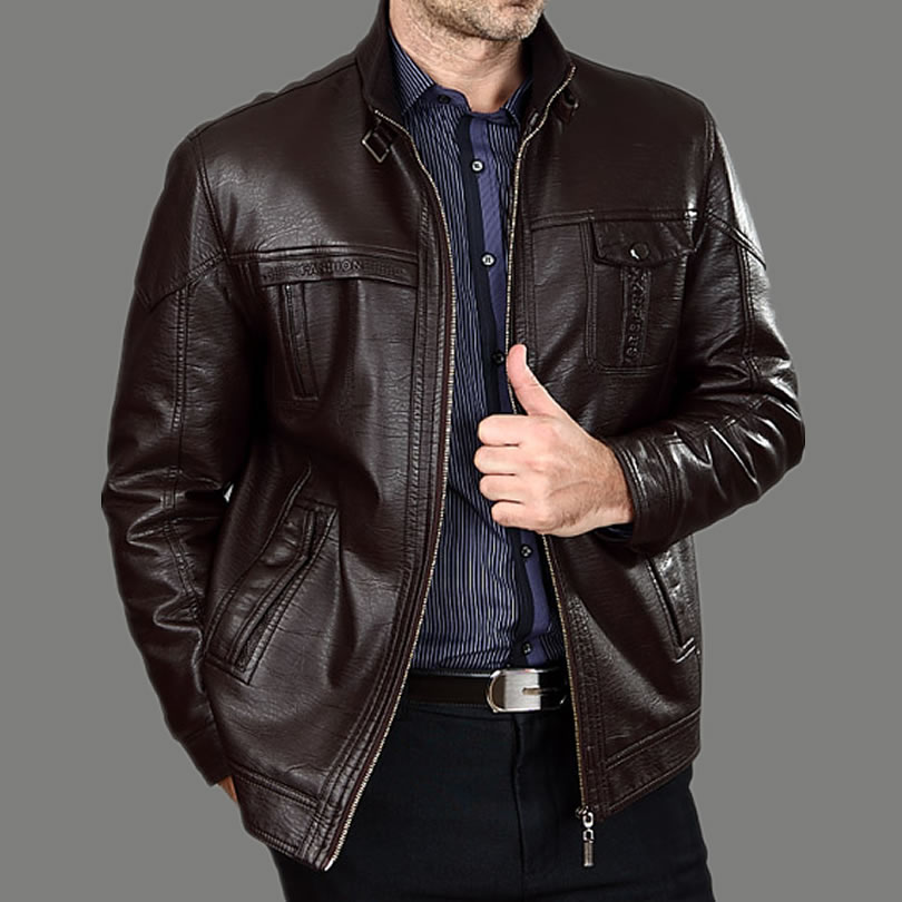 Giubbotti di cuoio degli uomini di mezza età moda autunno inverno uomo con spessore di pelliccia grandi cantieri cappotto di cuoio da uomo 100% cotone m-xxxl
