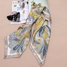 High Style 100% Silk Twill Scarf Shawl Women Square Silk Scarf Foulard Head Scarves Hijab 35