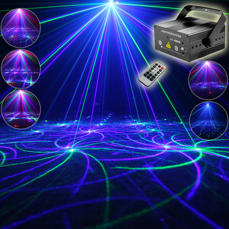 Eshiny MINI RGB 2 Len Laser 24 Patterns Projector Full Color Red Green Blue Club Home