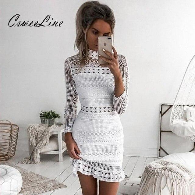 Womens Hollow Out Lace Crochet Dress Vintage Geometric Pattern