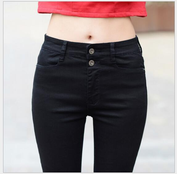 New white high waist jeans women trousers elastic Slim pencil pants Korean version was thin black pants new white high waist jeans women