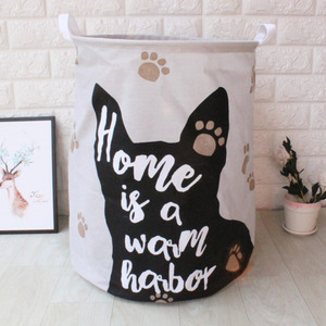 Image 5 - 귀여운 고양이 개 발 대형 접는 세탁 바구니 만화 고양이 보관 배럴 코튼 린넨 더러운 옷 햄퍼 장난감 보관 바구니