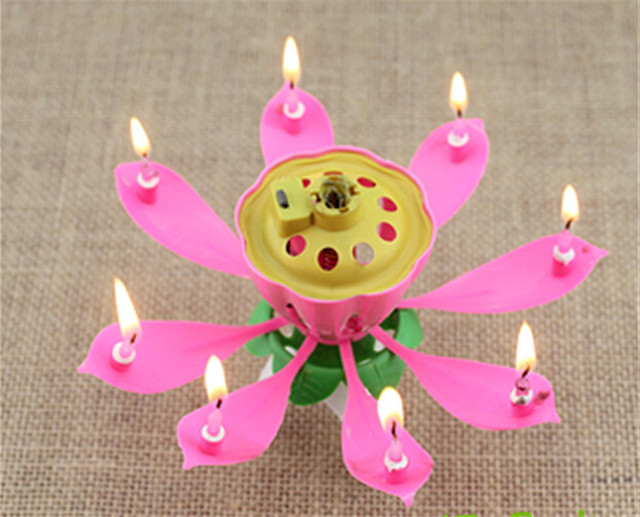 100pcs Lot Musical Lotus Flower Candles Happy Birthday Romantic Party Gift