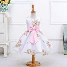 Розничная новый стиль лето девочка печати платье девушки цветка для свадебные платья девушки платье с бантом платье для 2-8 Лет LM008