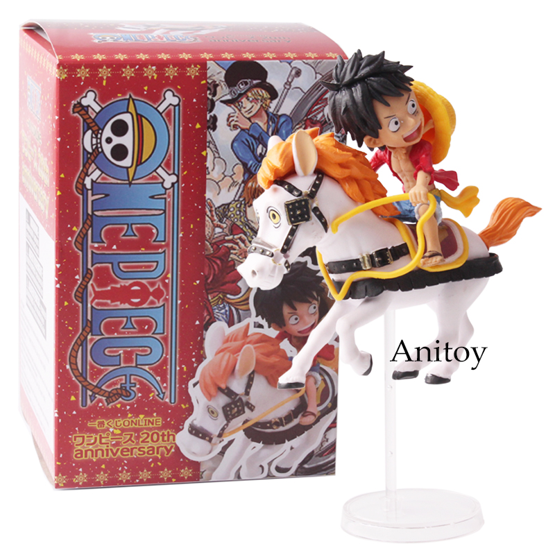 Anime One Piece 20th Anniversary Monkey D Luffy Horse Riding PVC Figure Collectible Model Toy 8cm