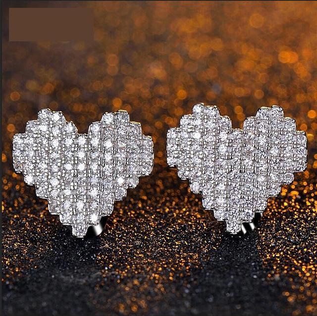 925 Sterling Silver Heart Shape Earrings studded women clear high quality cubic zirconia jewelry sterling silver jewelry