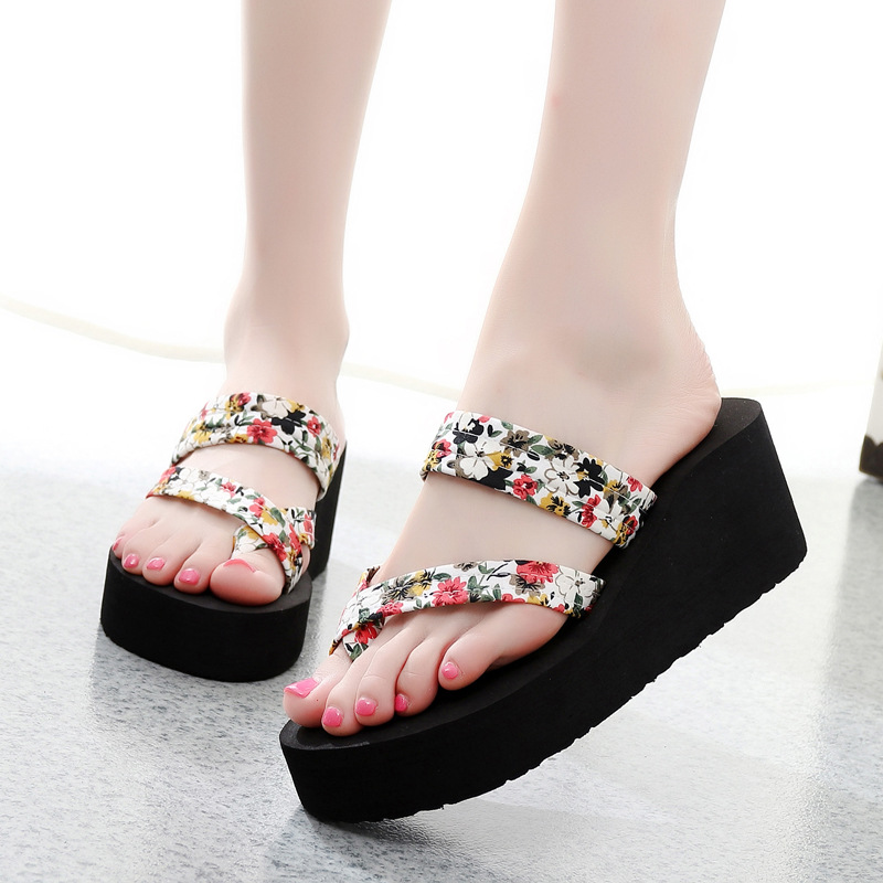 Summer Women Flip Flops Slippers High Heel Platform Wedge Thick Beach Casual Thong Sandals Shoes LXX9 black red green pink summer sheepskin woman platform flip flops slippers thick high heels beach sandals for women open toe shoes